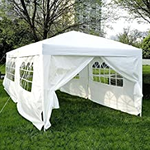 10'x20' Outdoor Folding Pop Up Party Tent Wedding Gazebo Canopy Patio Shelter with 6 Sidewalls, White