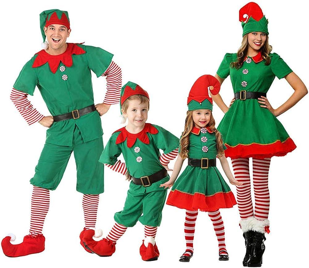 Deylaying Disfraz de Elfo de Navidad, Carnaval Cosplay Traje de Navidad Disfraz de Duende Conjuntos para Hombres Mujeres Niños