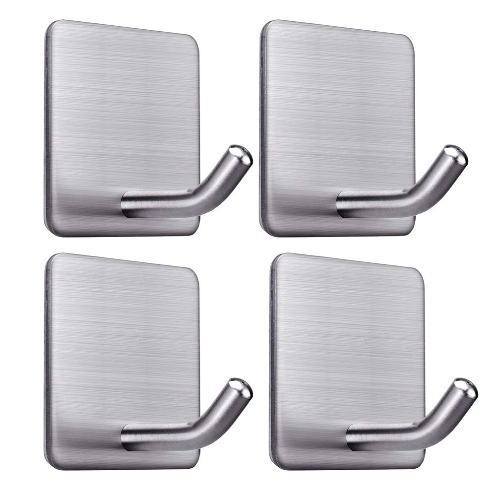 Adhesive Hooks Wall Hooks Bathroom Office Hooks Wall Hanger Hanging for Kitchen Bathroom Home Stick on Wall Stainless Steel-4 Packs