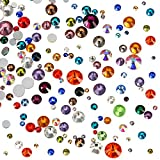 #7: WILLBOND 1000 Pieces Flat Back Artificial Gems Flatback Rhinestones Round Glass Crystals 7 Mixed Sizes 1.5 - 6 mm for Nail Art Phone Craft DIY (Multicolor)