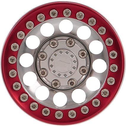 TOOGOO 4 Piezas de Aleaci/óN de Aluminio Reemplazo 1.9 Beadlock Profesional RC Crawler Hub Llanta Redonda para Accesorios TRX4 Juguetes Plata