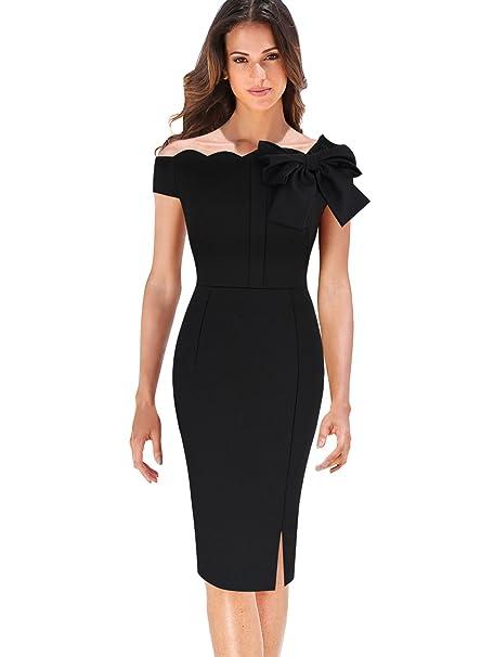 VfEmage Women s Celebrity Vintage Bowknot Party Cocktail Stretch Bodycon  Dress 9026 BLK 20 52e021593679