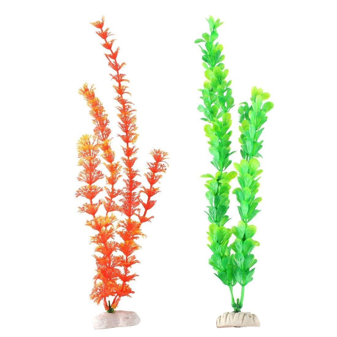 2Pcs 11.8  Height Plastic Emulational Ornament Plants for Aquarium