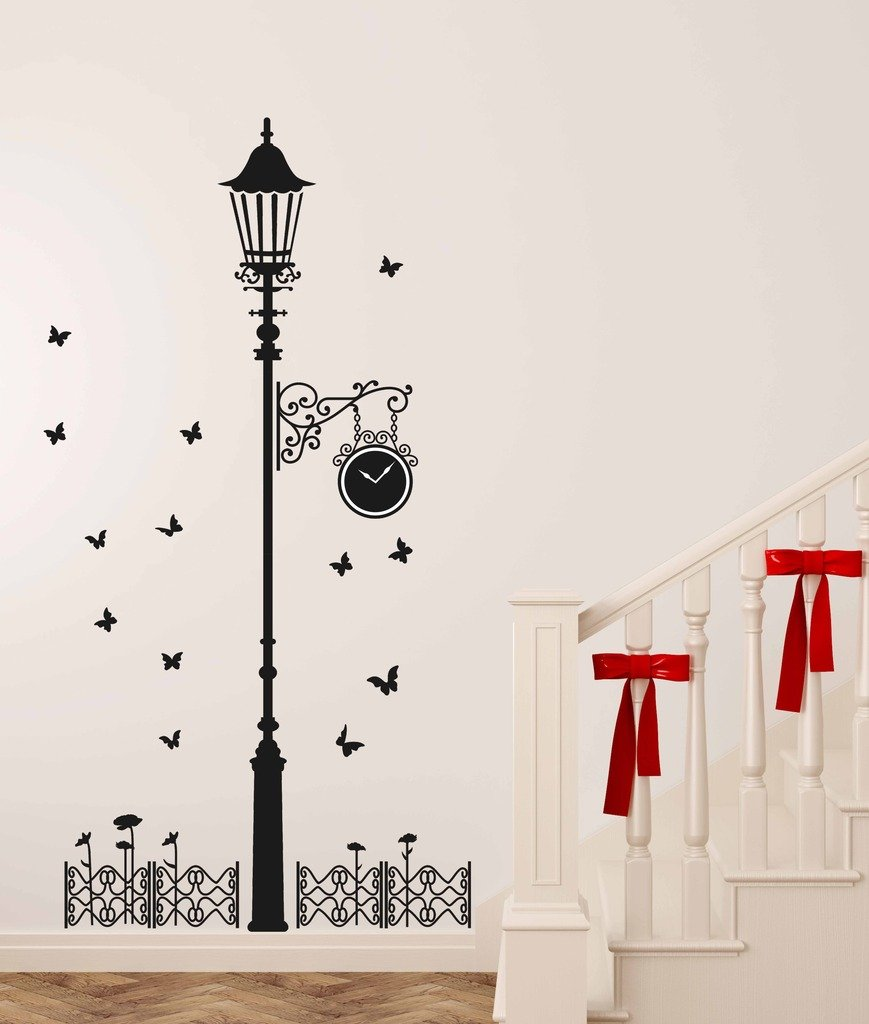 a67d0236baf Decals Design  Black Antique Street Lamp with Butterflies  Wall Sticker  (PVC Vinyl