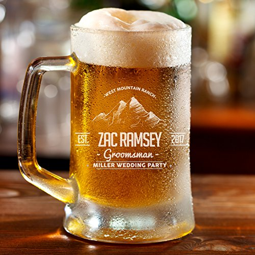 Personalized Etched 16oz Glass Beer Mug -