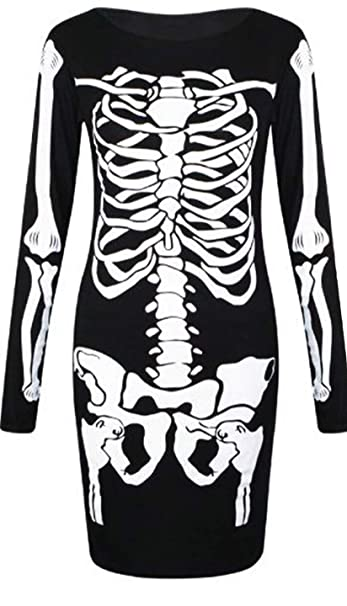 LADIES/' WOMEN/'S HALLOWEEN BONES BODYCON SKELETON PARTY MIDI DRESS LEGGING