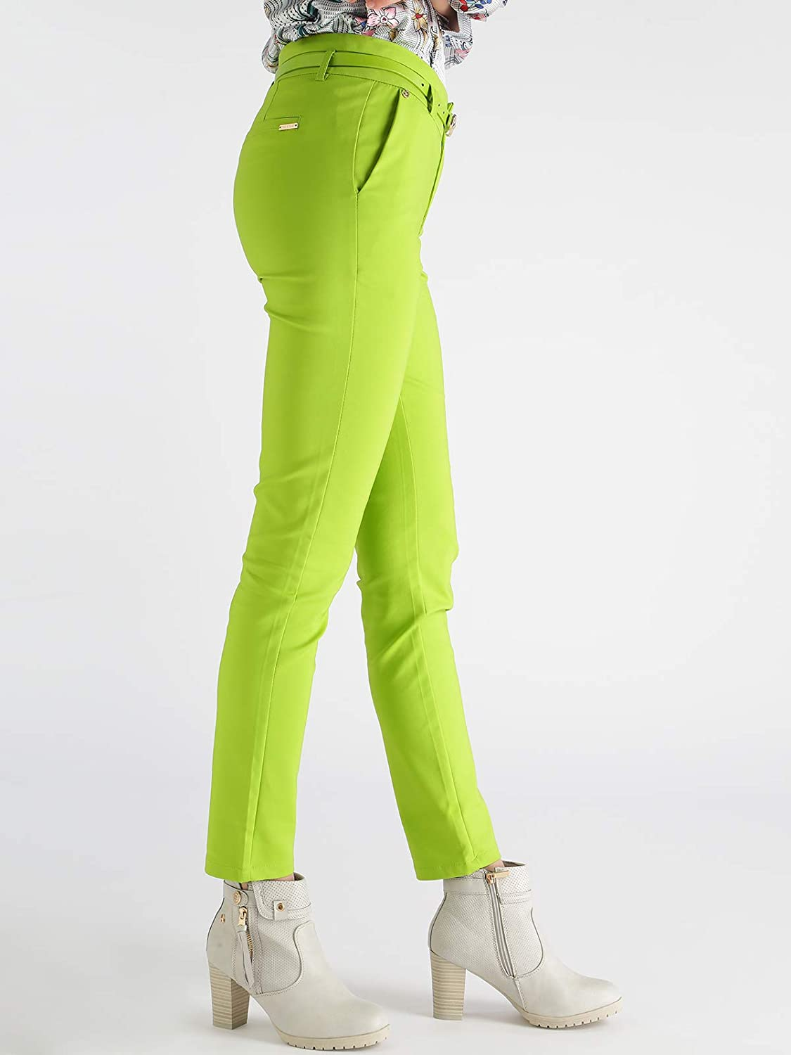 69ec2144f2bb FREESIA Pantaloni a sigaretta con cintura - verde acido: Amazon.it:  Abbigliamento