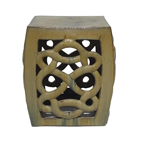 Amazing Amazon Com Cream Yellow Ceramic Clay Twist Knot Square Pabps2019 Chair Design Images Pabps2019Com