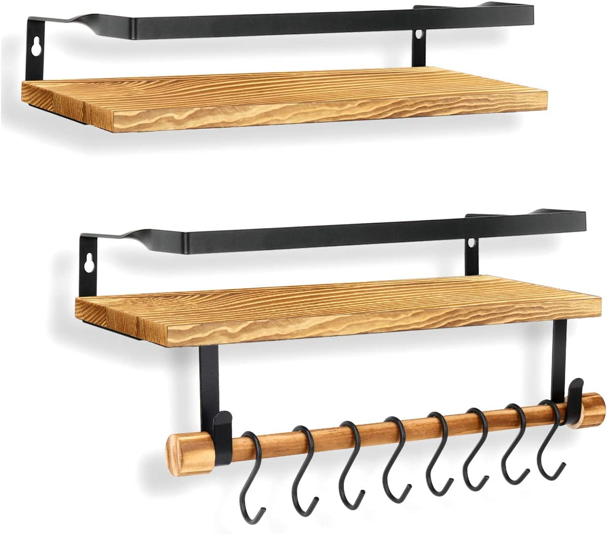 Hcoolfly Floating Shelves Wall Mounted, Rustic Solid Wood Wall Shelf Set of 2 for Bathroom, Kitchen, Living Room, Bedroom, Office