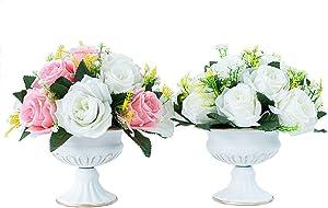 Lanlong 2 Pieces Household Metal Flower Vase Wedding Centerpiece Decor Retro Vases (White, Bowl Shape)