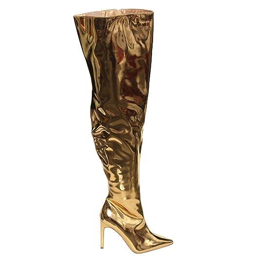 e0b4eafa0 Amazon.com   CAPE ROBBIN AH05 Women's Metallic Stiletto Over The Knee High  Boots Dress Heels, Color:GOLD, Size:10   Over-the-Knee