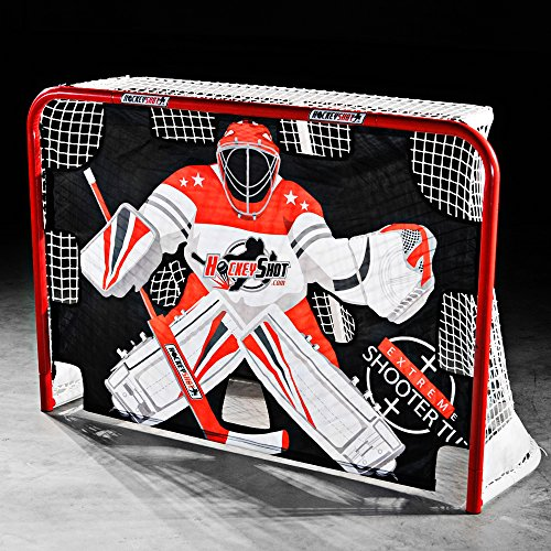 HOCKEYSHOT EXTREME SHOOTER TUTOR Hockey Training Aids Red Black and White Shooting Tarp for use on Goals by HockeyShot