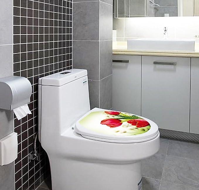BIBITIME Autumn Yellow Leaves Decals Bathroom Toilet Seat Cover Sticker Vinyl Toilet Lid Decal Decor 12.99 x 15.35