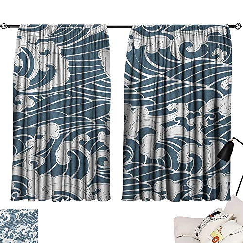 Aquatic Assured Traditional Doodle Wave Modes Curtains Abstract Window Style Retro Hand Darkening Privacy Beihai1sun Drawn Japanese River Storm Y6fy7gvIbm