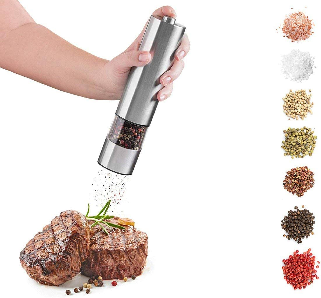 Contican High-Grade Stainless Steel Pepper Mill Electric Pepper Mill Grinder Manual Pepper Grinder Coffee Grinder Round Head