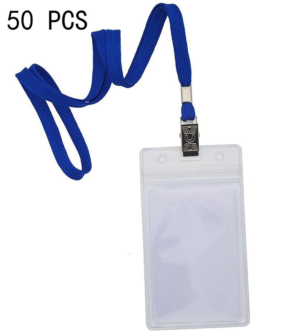 Badge e Portabadge,Bird Fiy Confezione da 50, con clip e confezione da 50impermeabile in plastica trasparente verticale nome tag Badge ID Card Holders (Blu)