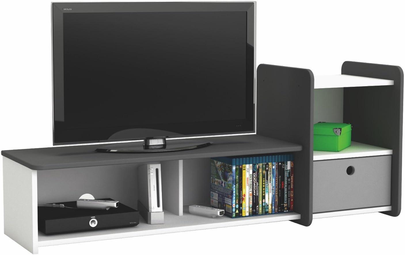 Mesa Soporte Juvenil de televisión TV Multimedia. Blanco y Gris. para salón Comedor habitación Infantil: Amazon.es: Hogar