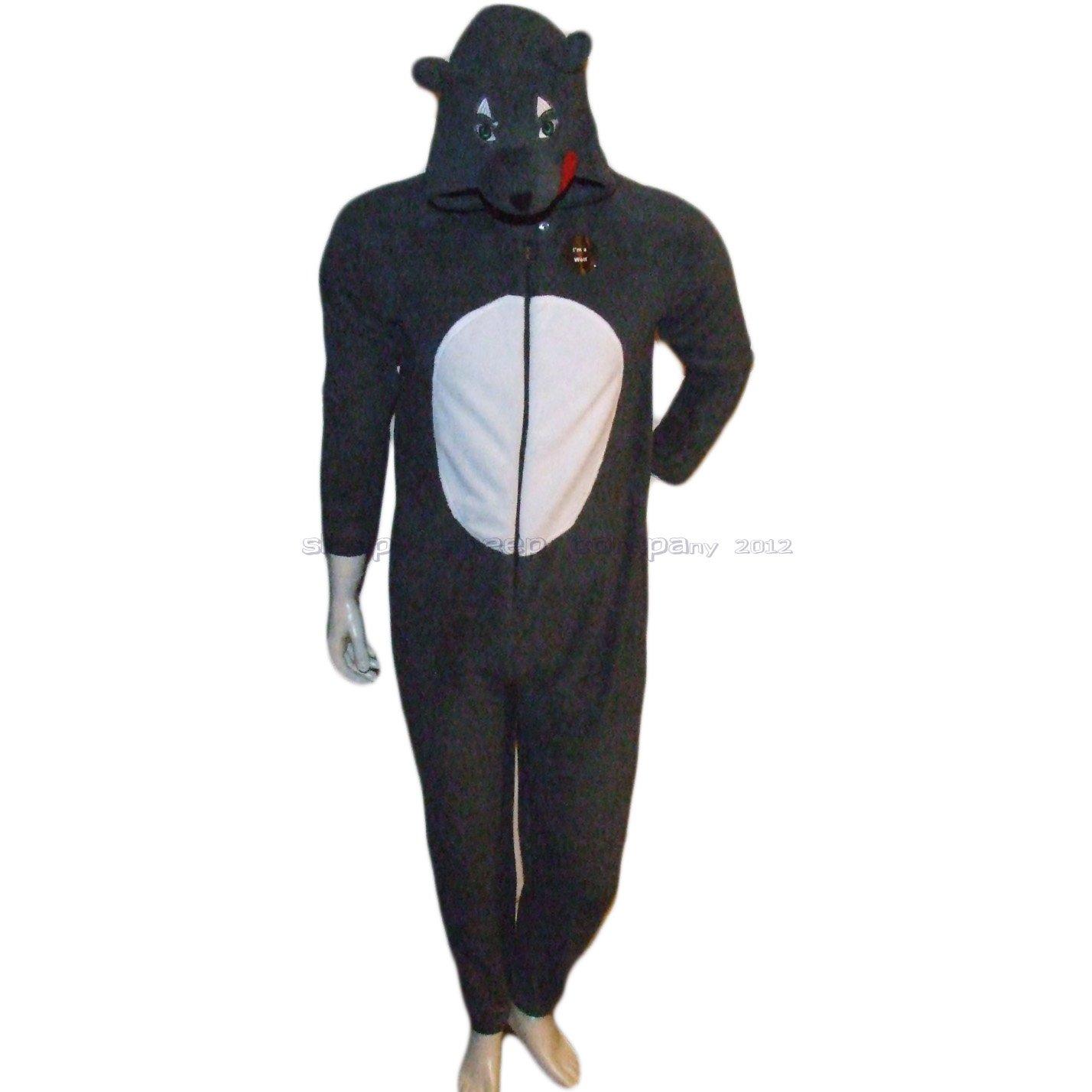 1a1b10ee9b45 Mens Wolf Onesie Fleece Sleepsuit Costume Pyjamas X-Large  Amazon.co.uk   Clothing