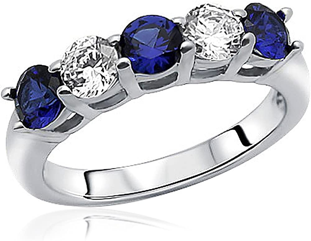 Lex /& Lu Sterling Silver w//Rhodium Enameled w//CZ Ring Set