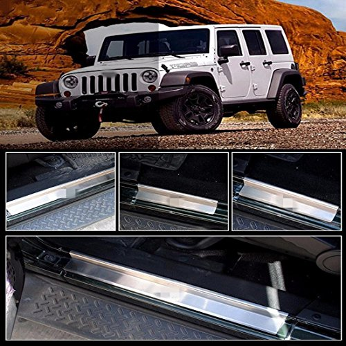 FMtoppeak One Set of 4 Pcs Front&Rear Door Sill Protector Stainless Steel Scuff Plate Door Sill Entry Guard for 2007-2017 Jeep Wrangler JK 4 Door with Logo(Silver)