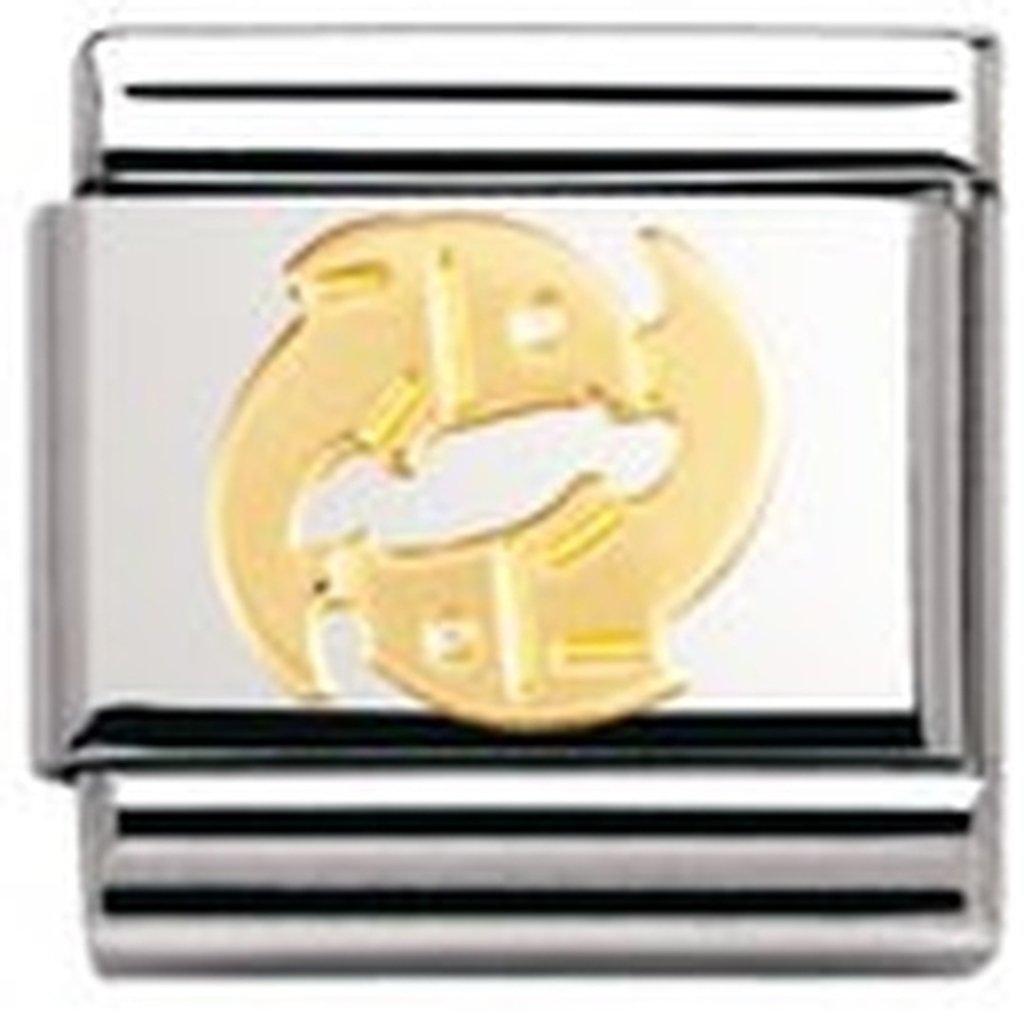Nomination 030104 - Maillon pour bracelet composable Mixte - Signe astrologique - Poisson - Acier inoxydable et Or jaune 18 cts