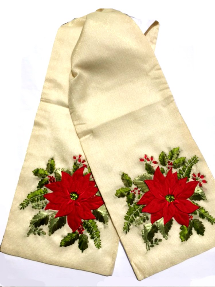 3D Christmas Table Runner with Woven-in Sparking Golden Metallic Thread, 13'' x 72'' (Brown Bear with Fur on a Gold Background) Holiday Detail