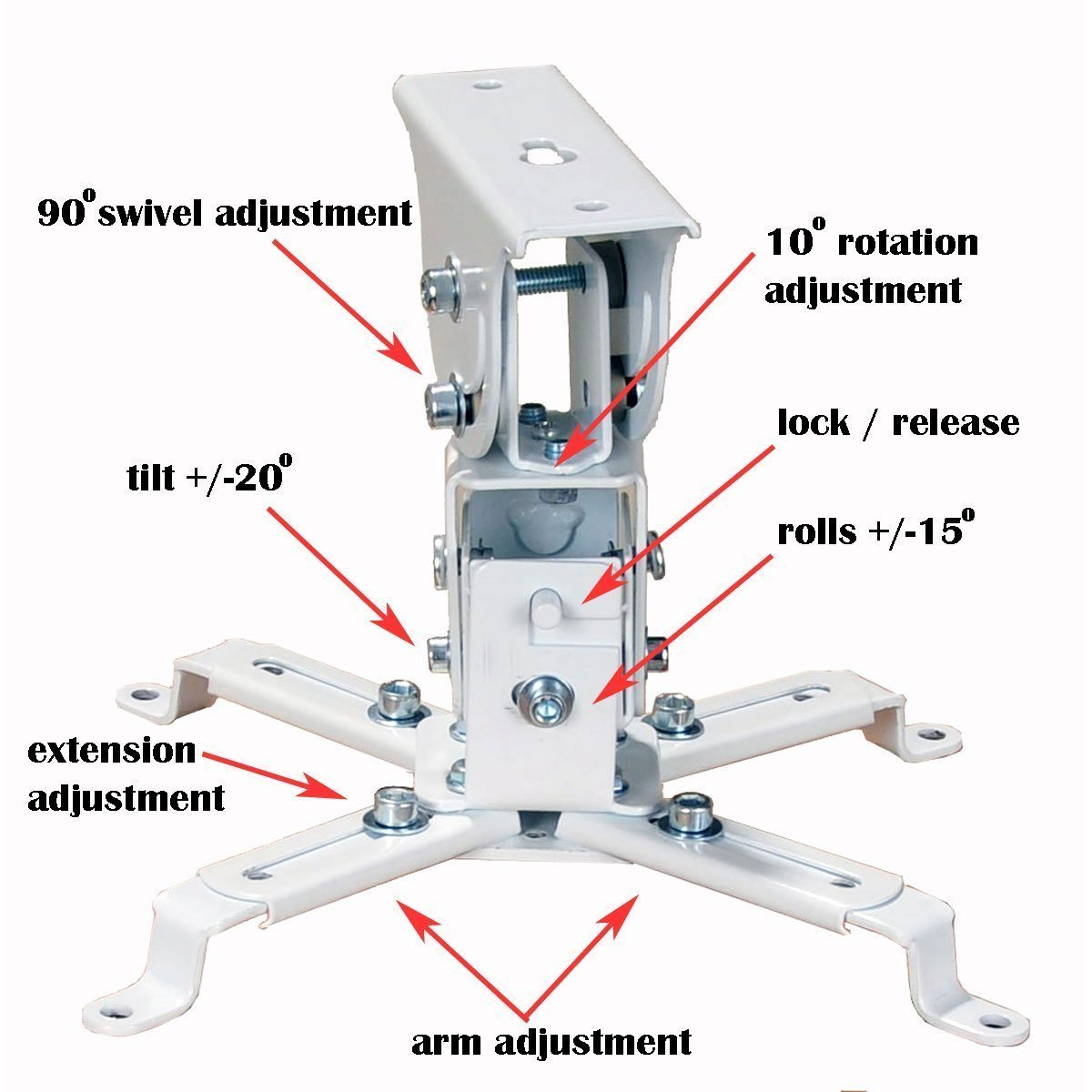 VideoSecu Universal Projector Ceiling Mount Bracket for Sony Dell Epson LCD DLP Projector 1CA