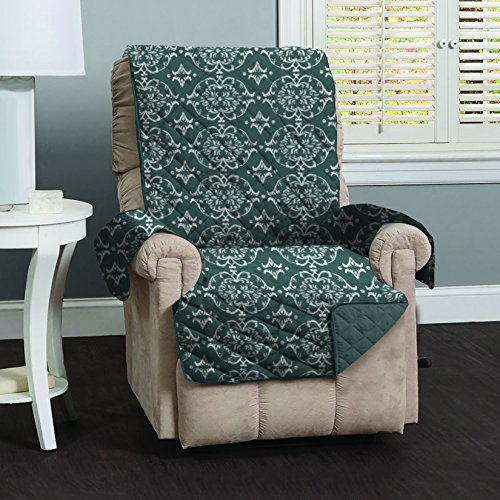 Kingston Collection Deluxe Reversible Stain Resistant Furniture Protector with Beautiful Printed Pattern. Includes Adjustable Straps. By Home Fashion Designs Brand. (Recliner, Charcoal) (Strap Furniture Collections)