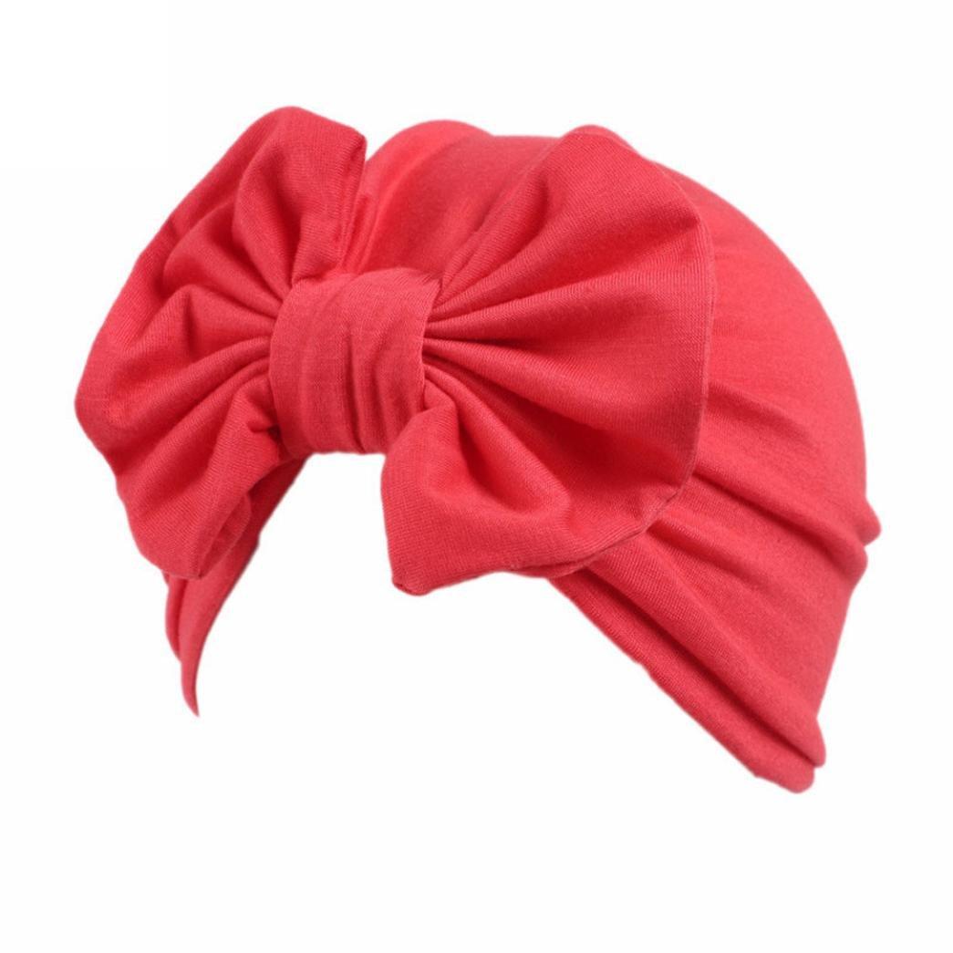 Tiean Children Baby Girls Boho Hat Beanie Scarf Turban Head Wrap Cap Red