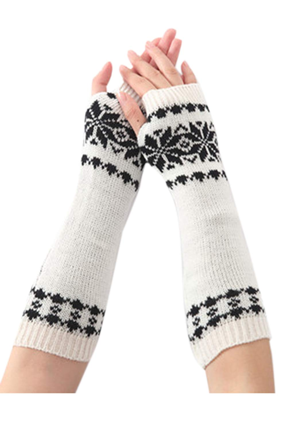 Womens Short Arm Warmer Warm Knitted Vintage Fingerless Gloves Girls Black F CAzin891110-Black-F