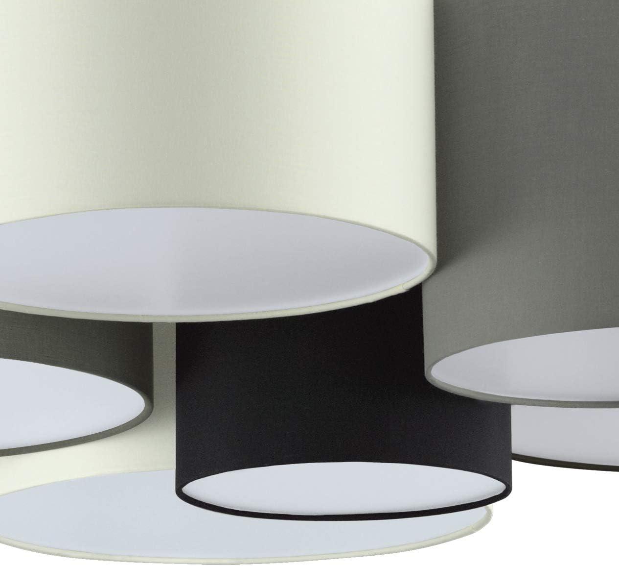 schwarz Material: Stahl grau 6 flammige Textil Deckenleuchte EGLO Deckenlampe Pastore Stoff Fassung: E27 braun Farbe: Wei/ß