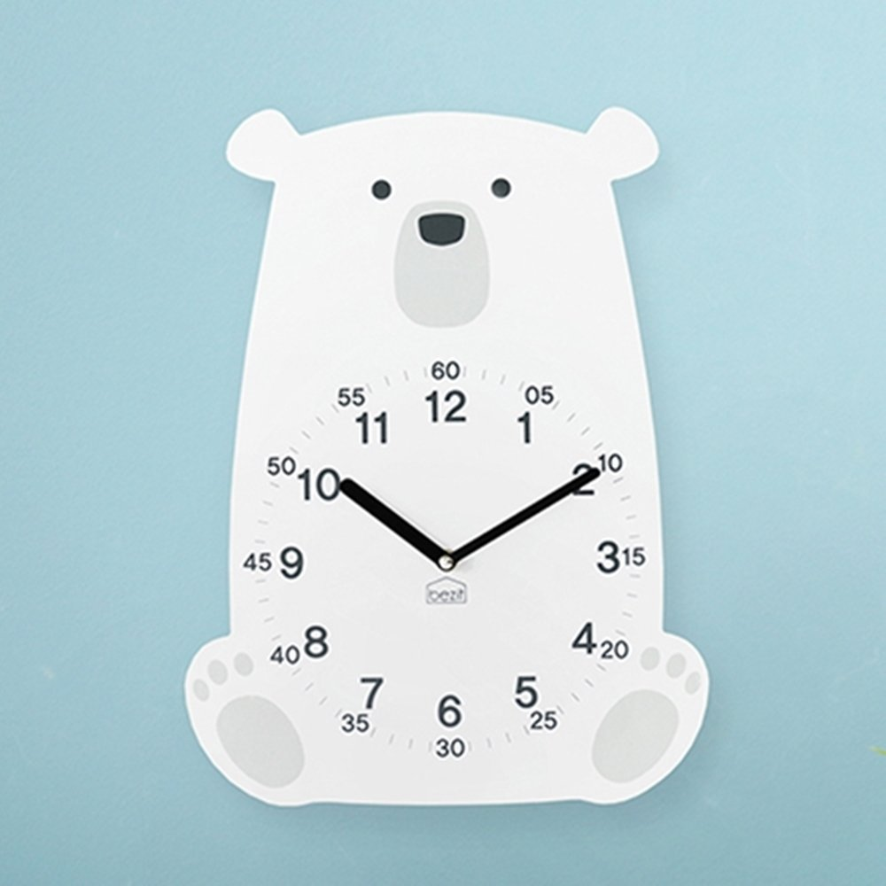 BEZIT Non-Ticking, Silent 11-Inch Wall Clock – Decorative, Modern, Clean, Cute, Kid-Friendly Design For Indoor, Office, Home, Baby Room (White Polar Bear)