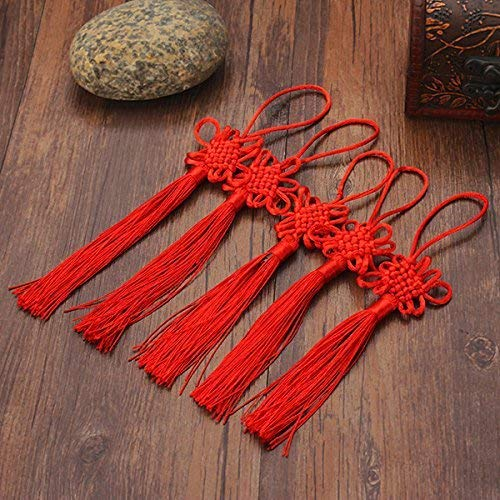 Hanging Ornaments - 10pcs Red Hand-Knit Chinese Knot Gift Celebration Supplies Car Pendant - Chinese Tassel Large Tassels Keys Earrings Cord Necklace Loop Silk - Red ()
