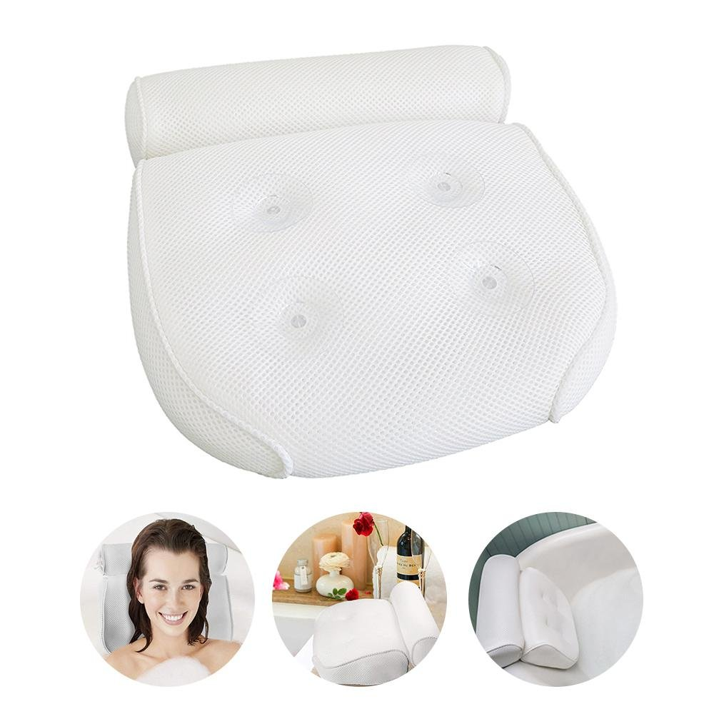 Aolvo Spa Tub Pillows, Non Slip 3D Mesh Foam Bathtub Pillow with 4 Suction Cups for for Men, Women, Adults, Kids and Baby - Anti-Mold & Waterproof - for Back, Neck and Head Support in the Bathtub