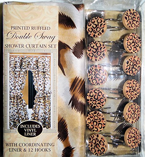 Leopard Cheetah Print Design Fabric Double Swag Pricilla Ruffle Shower Curtain With Valance Liner And 12 Hooks