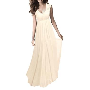 REMASIKO Women's Vintage Lace V Neck Sleeveless Maxi Bridesmaid Evening Dress