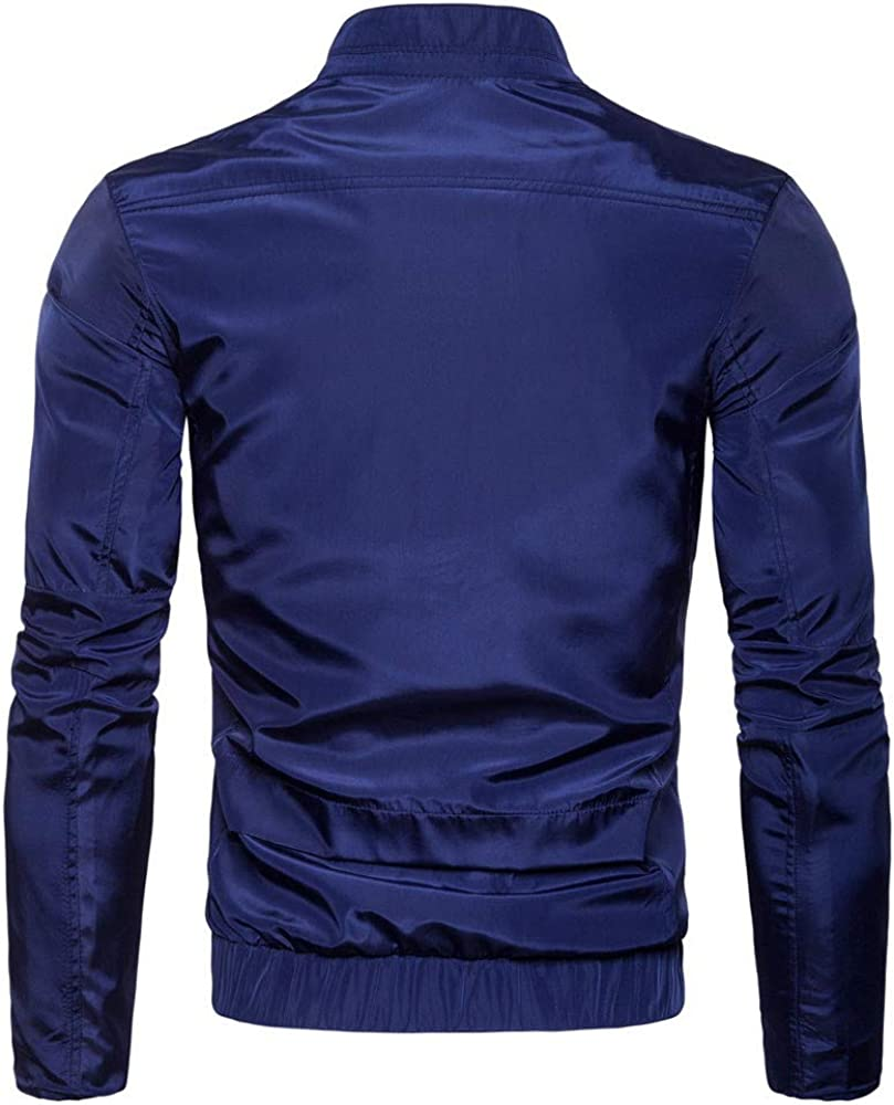 Solid Casual Lightweight Breathable Fashion Stand Zip Jacket Top Blouse Realdo Mens Outdoor Sport Jacket Big