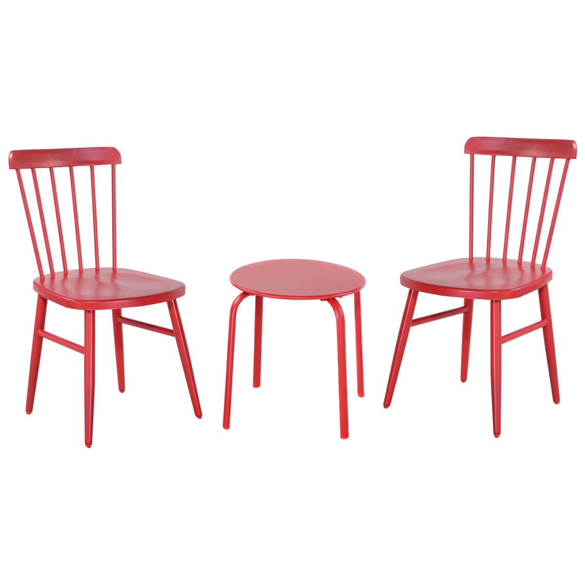 billionese Patio Table Chairs Furniture Set Bistro Garden Lawn Pool Side Steel Red 3PCS