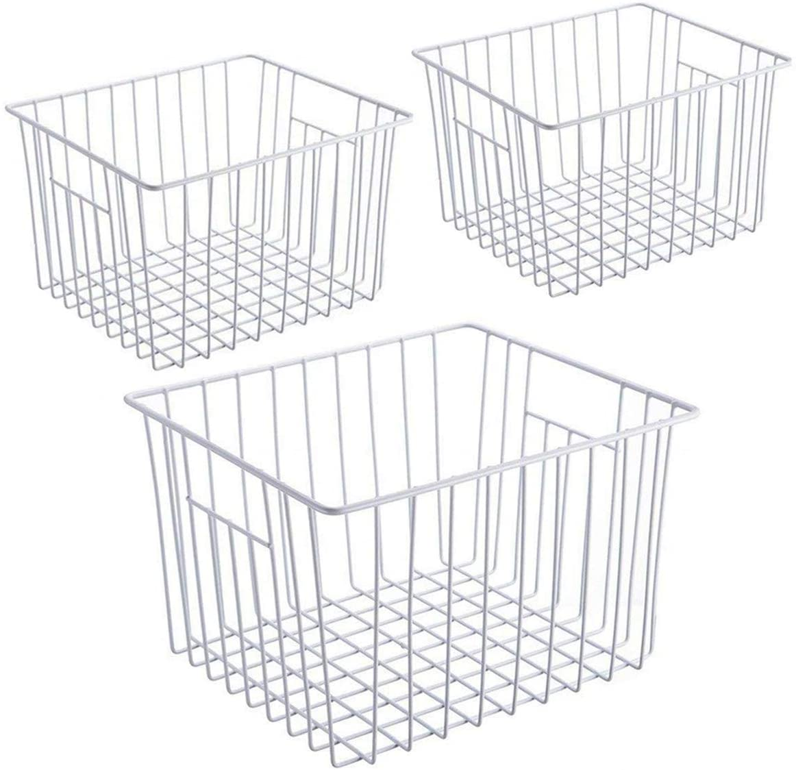iPEGTOP Deep Refrigerator Freezer Baskets, Large Household Wire Storage Basket Bins Organizer with Handles for Kitchen, Pantry, Freezer, Cabinet, Closets, Pearl White, Set of 3