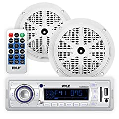 Pyle Model: PLMRKT32WT       Marine In-Dash Stereo Receiver & Speaker Kit, Digital AM/FM Radio System, (2) 5.25'' Waterproof Speakers, MP3/USB/SD Readers, Aux (3.5mm) Input, Remote Control, Single DIN       Receiver Features:      ...