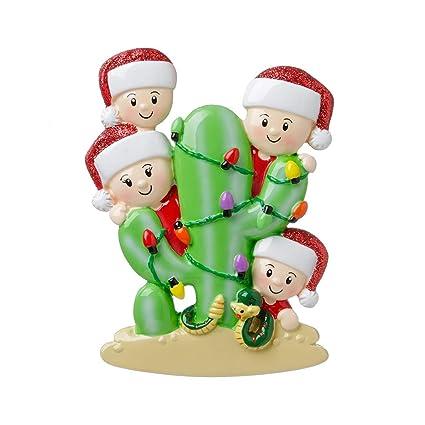 Amazon com: Personalized Cactus Family of 4 Christmas Tree