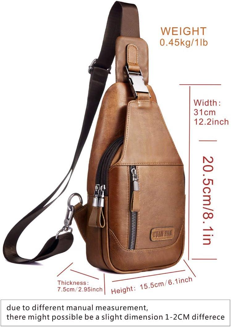 Men/'s Leather Checkered Sling Bag Crossbody Chest Shoulder Purse Handbags Travel