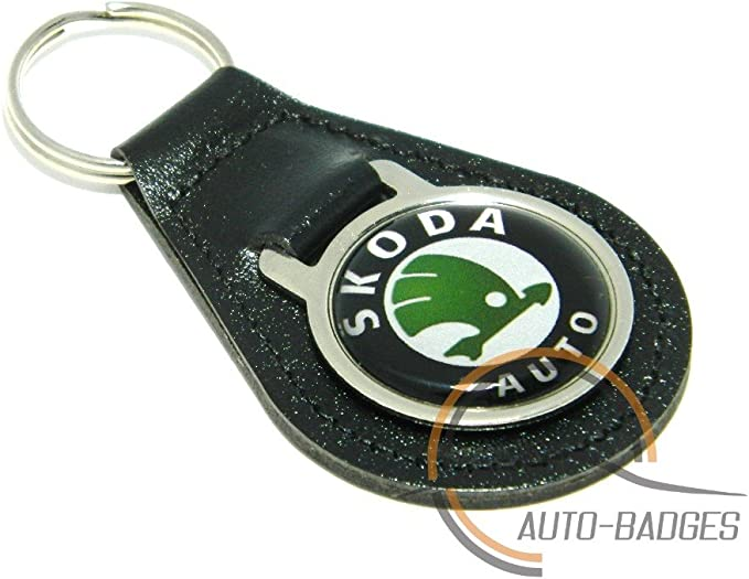Skoda Schlüsselanhänger Qualität Schwarz Leder Schlüssel Ring Auto