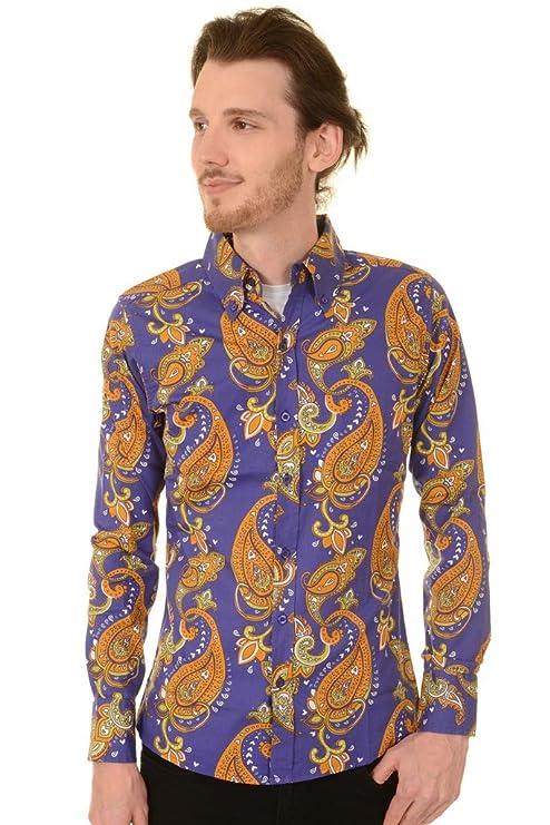 1960s -1970s Men's Clothing Run & Fly Mens 70s Hendrix Purple Haze Psychedelic Paisley Printed Shirt AUD 32.88 AT vintagedancer.com