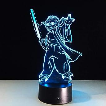 Bbdeng Luz Nocturna 3D Caballeros Jedi De Star Wars Toque De Color LED Ambiente Ahorro De