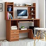 家用书架台式电脑桌学生寝室双层书架木质办公桌简易经济型小桌子省空间卧室写字桌柜子抽屉作业桌 (C款120cm浅胡桃升级款)