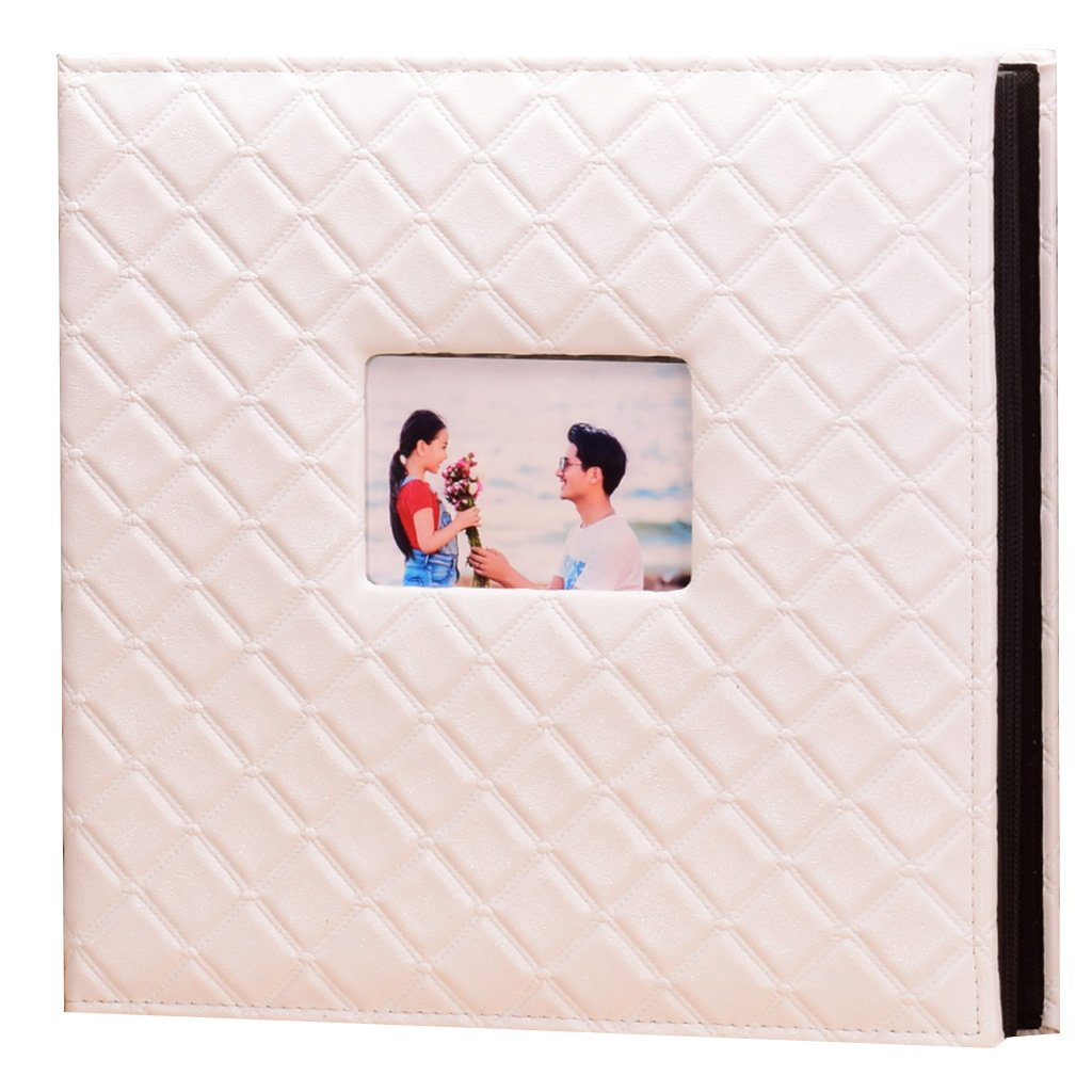 Photo Albums TYJY- Insert type PU Retro Big Plaid, Large-capacity 4 X6 600 Photos, Black Particle Core, Home Wedding Baby Grow Memorial Book (Color : White)