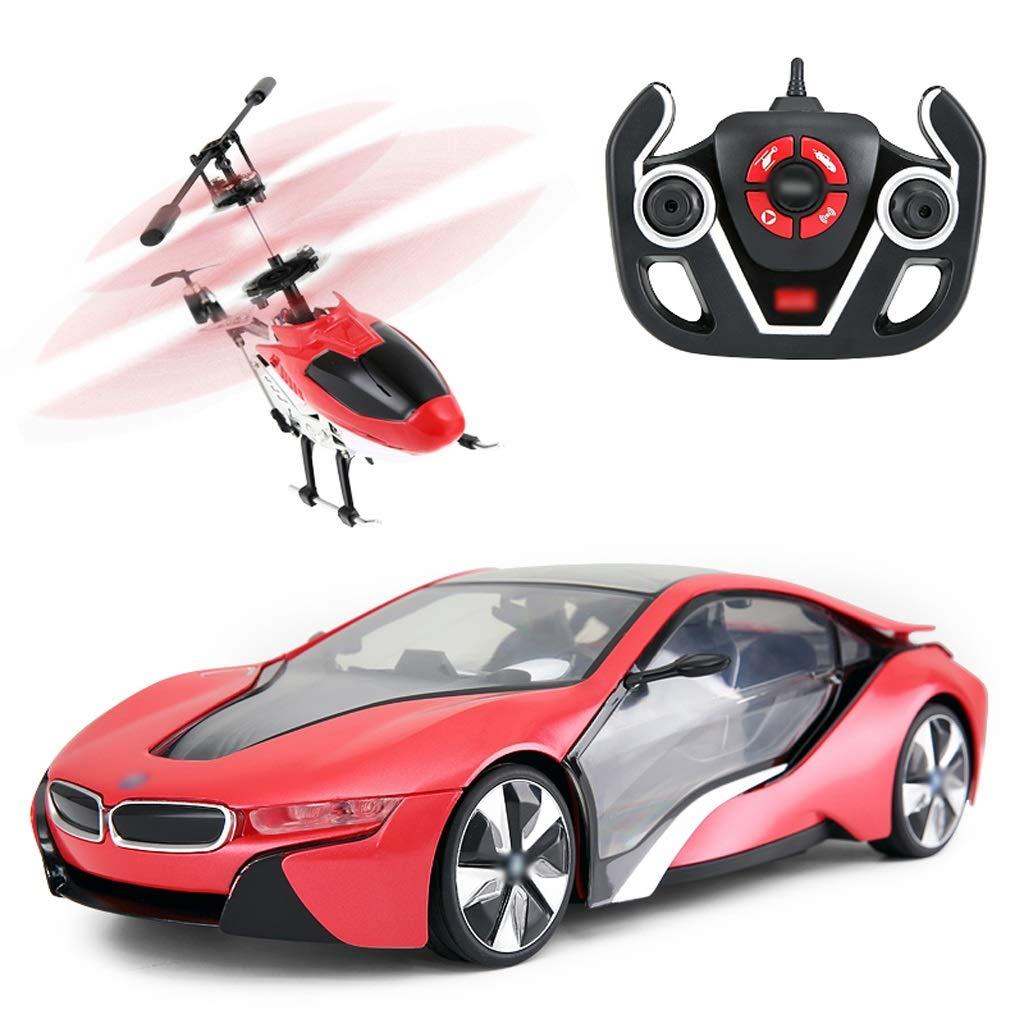 DUWEN Combinazione di elicotteri per Automobili con Telecomando Set per Bambini Sports Car (colore   Red)
