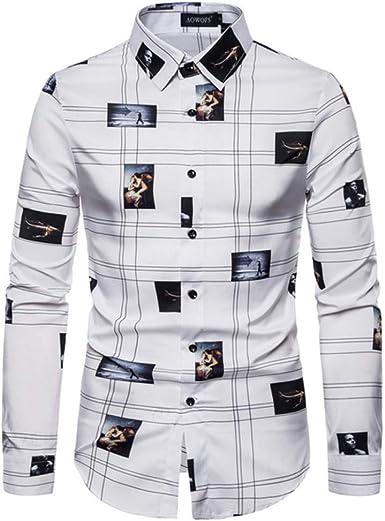 Loeay Camisa Estampada Vintage Hombres Otoño Barroco Camisas de Fiesta de Manga Larga Camisa Casual con Botones para Hombre Camisa Social Hombre: Amazon.es: Ropa y accesorios