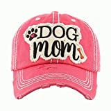 Dog Mom Pink Washed Vintage Baseball Cap.